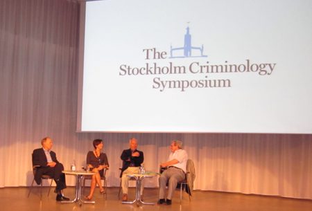 Dr. Abby Fagan participating on a Stockholm Criminology Symposium panel with David Hawkins (University of Washington) and the 2013 Stockholm Criminology Prize award winner David Farrington (Cambridge University) in June 2013.