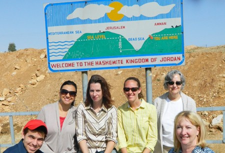 Claudia Youakim (top left) and Dr. Connie Shehan (bottom right) entering Jordan with a UF research team headed by Dr. Sandra Russo (top right) to study gender issues in agriculture in arid regions of the Middle East.