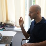 Dr. Tamir Sorek is an Alexander von Humboldt Fellow at the Humboldt University in Berlin for 2013/14. In the photo, Dr. Sorek is thinking about the next sentence in the book he is writing about the collective memory of the Palestinians in Israel (Berlin, Germany, August 2013)